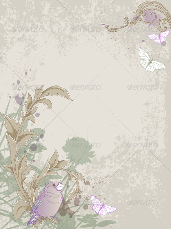 vintage background with bird by artness graphicriver