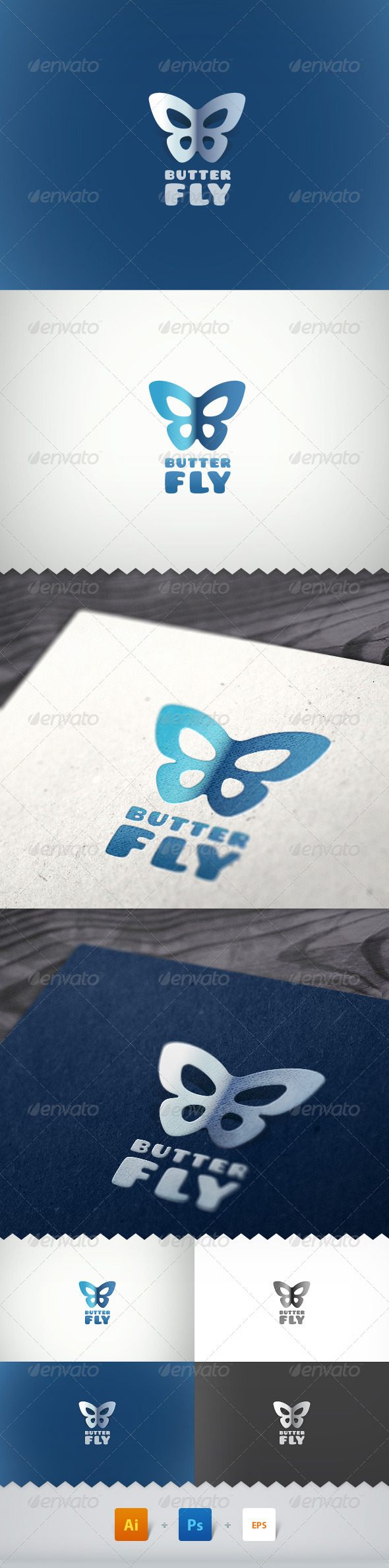 Butterfly Simple Logo - Letters Logo Templates