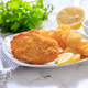 Chicken escalope with baked potatoes, mayonnaise and lemon - PhotoDune Item for Sale