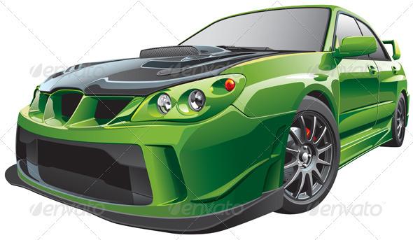 Green custom car - Objects Vectors