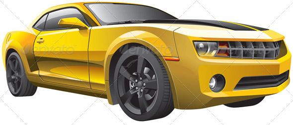 Yellow Muscle Car - Objects Vectors