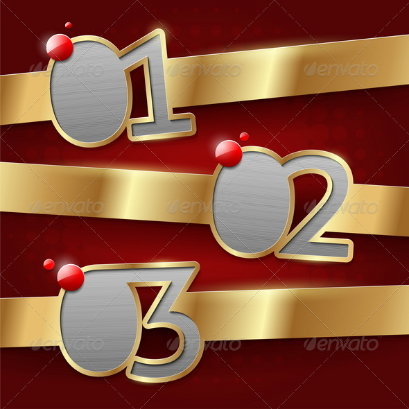 Design templates with numbered golden banners - Abstract Conceptual