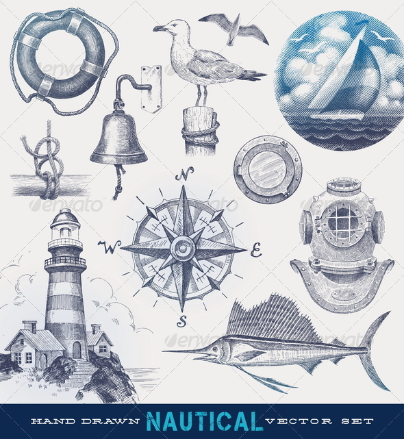 Nautical hand drawn vector set - Retro Technology