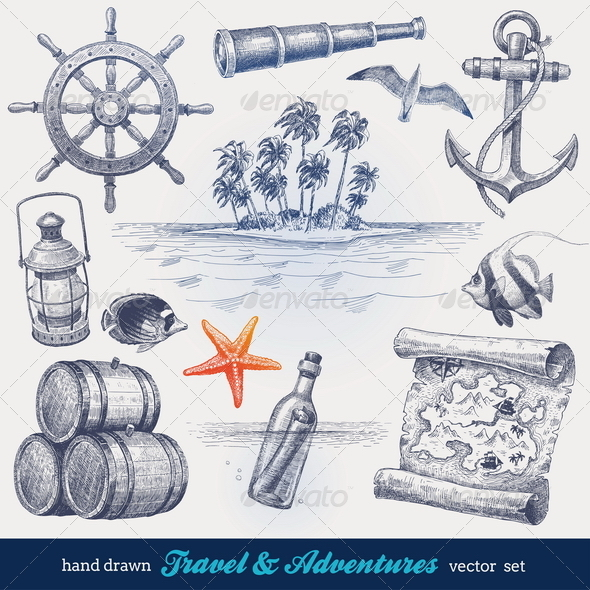 Travel and adventures hand drawn vector set - Travel Conceptual