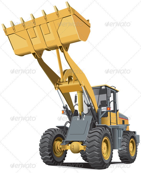 Light-brown Front End Loader - Objects Vectors