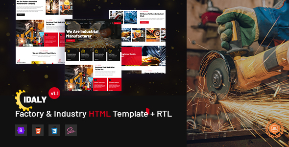 Top Idaly - Factory & Industry HTML Template + RTL