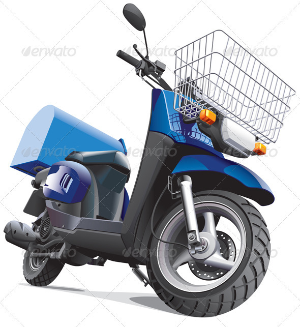 Motorbike For Delivery Goods - Objects Vectors