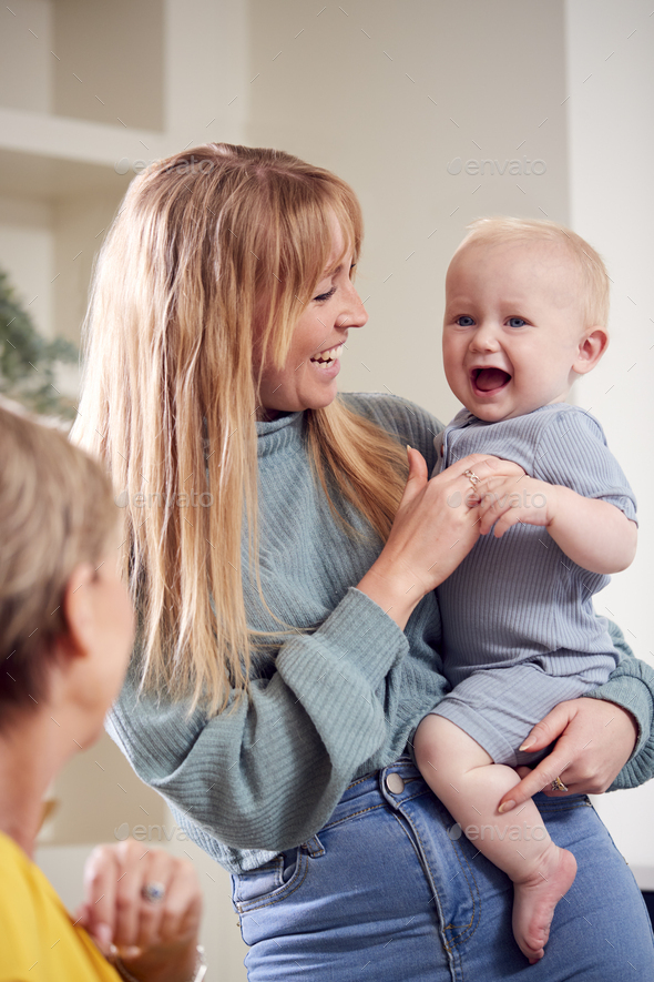 Grandmother With Adult Daughter And Baby Grandson At Home In Kitchen - Stock Photo - Images
