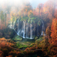 Aerial view on amazing foggy waterfall in Plitvice lakes - PhotoDune Item for Sale