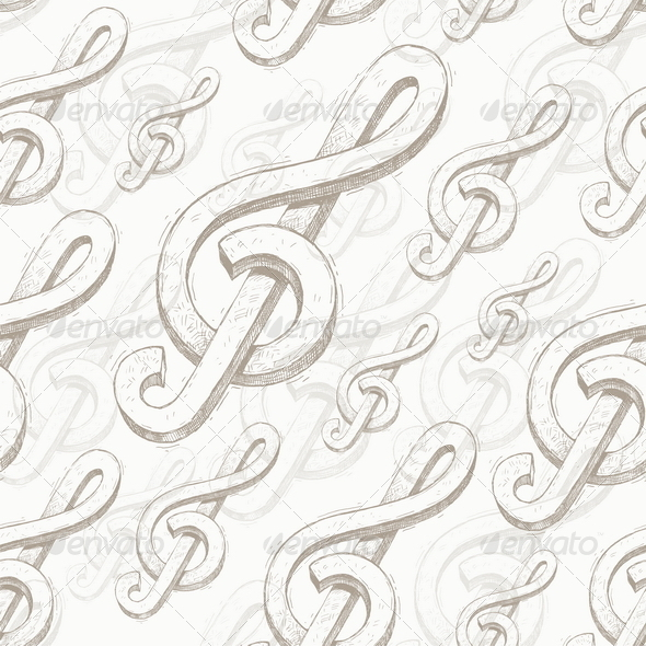 Vector seamless background with treble clef - Backgrounds Decorative