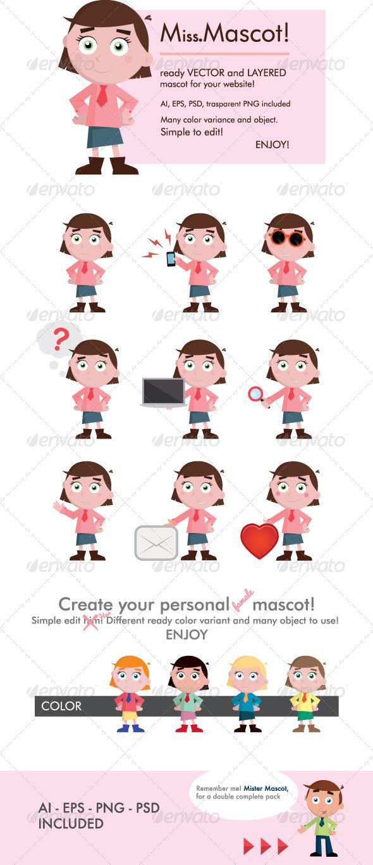 Miss Mascot - Characters Vectors