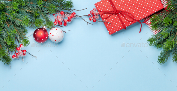 Christmas greeting card with fir tree and decor - Stock Photo - Images
