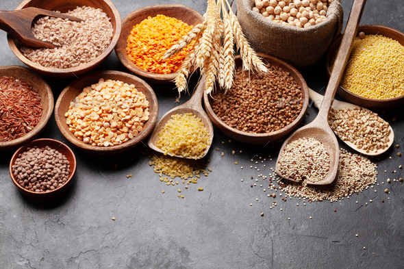 Gluten free cereals. Rice, buckwheat, corn groats, quinoa and millet - Stock Photo - Images