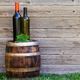 Wine bottles on wine barrel - PhotoDune Item for Sale
