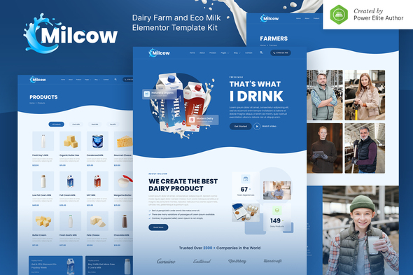 Milcow – Dairy Farm & Eco Milk Elementor Template Kit