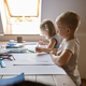 Two children drawing with pencils and markers - PhotoDune Item for Sale