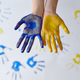 Girl hands painted with gouache, kid in workshop - PhotoDune Item for Sale