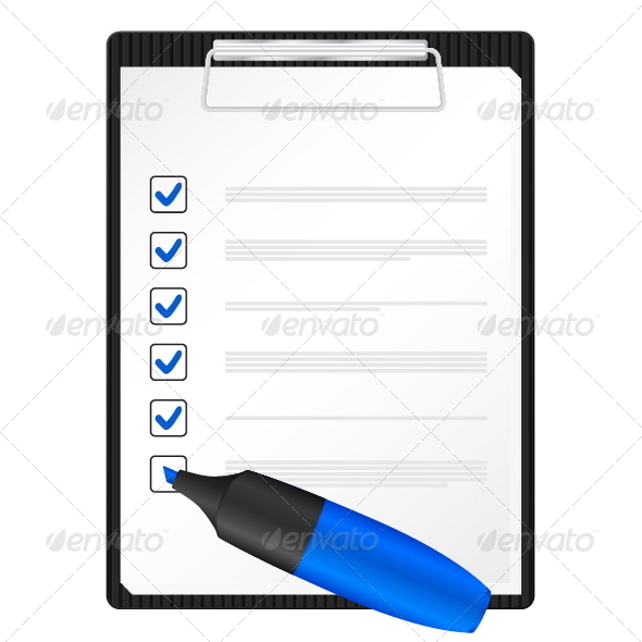 Clipboard and text marker - Concepts Business