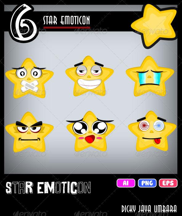 Star emoticon - Characters Vectors