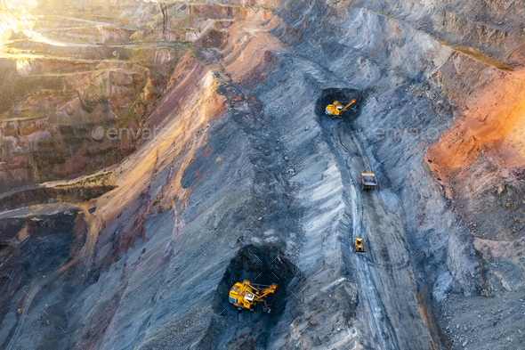 Aerial view of an open pit of iron ore. Resource mining - Stock Photo - Images