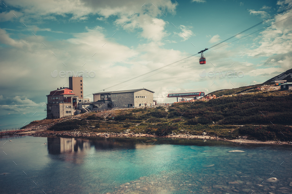 Cable car leading to the vacation resort. Tatras - Stock Photo - Images