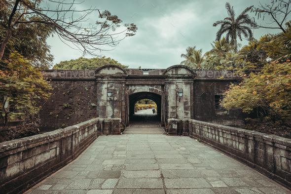 The stone bridge leading to Fort Santiago gate - Stock Photo - Images