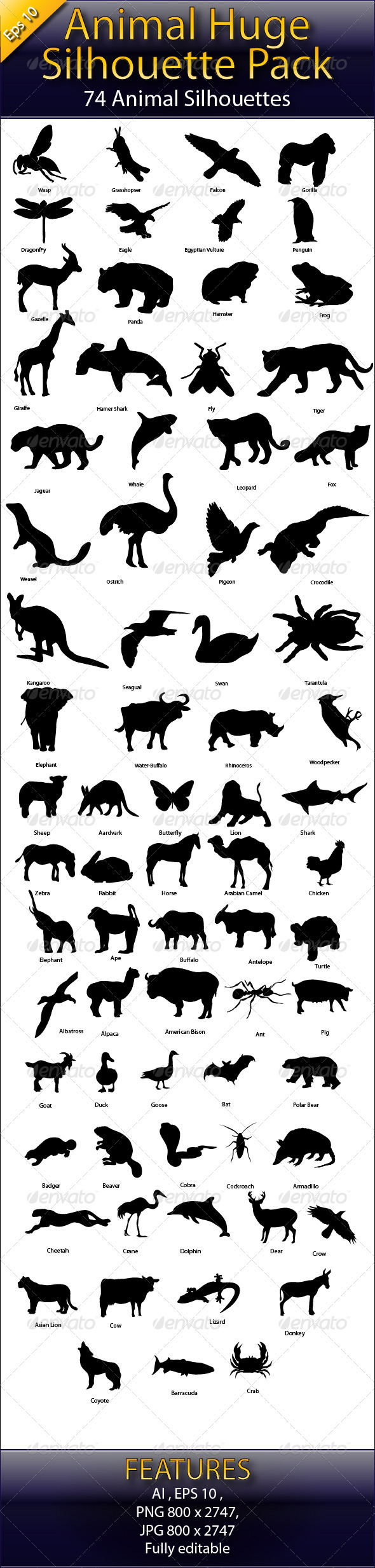 Animal Huge Collection Silhouette Pack - Animals Characters