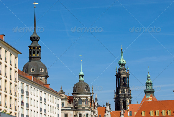 Historic skyline of Dresden  - Stock Photo - Images