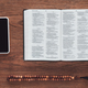top view of opened holy bible with beads and smartphone on wooden table - PhotoDune Item for Sale