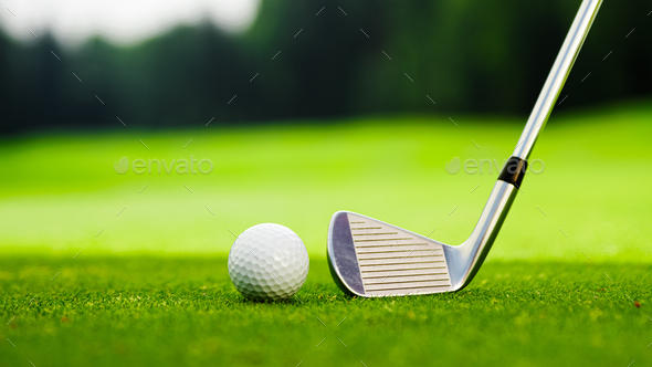 Golf club and ball on the golf course - Stock Photo - Images