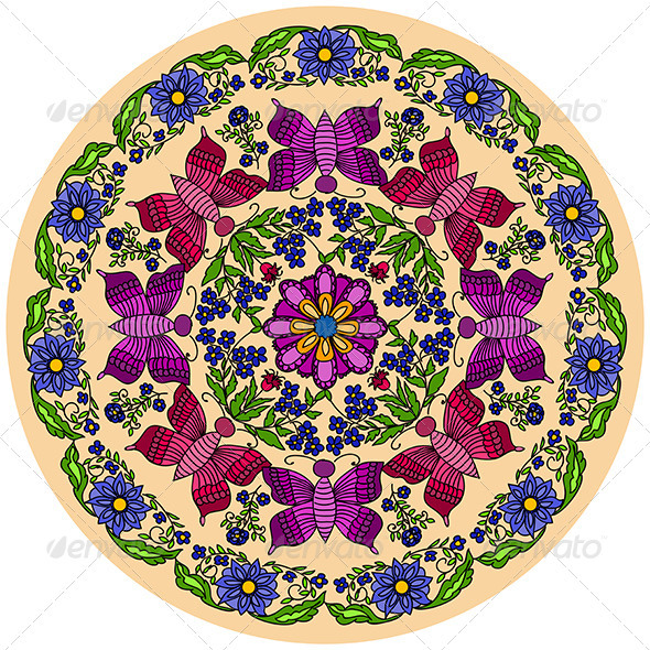 Round Ornament with Butterflies and Flowers - Backgrounds Decorative