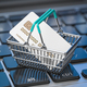Shopping basket with  credit card on laptop keyboard. - PhotoDune Item for Sale