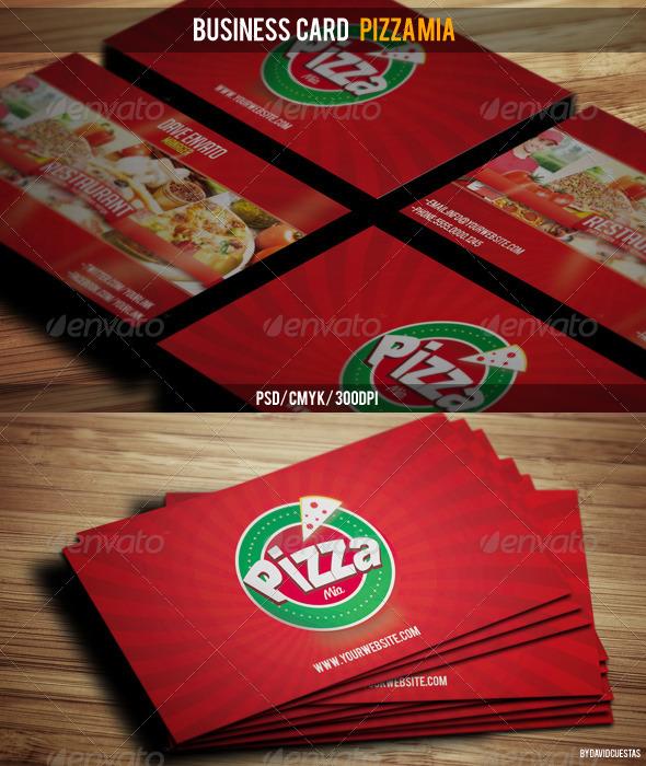 Business Card Pizza Mia - Industry Specific Business Cards