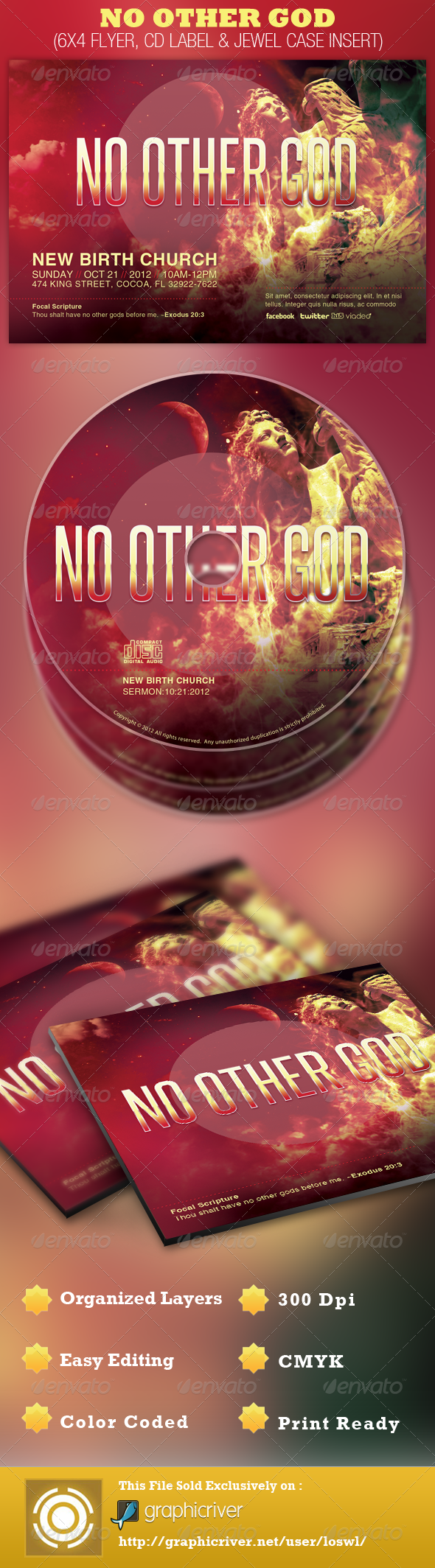 No Other God Church Flyer and CD Template - Church Flyers