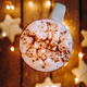 Close up of christmas white mug with hot cocoa, tea or coffee and marshmallow. - PhotoDune Item for Sale