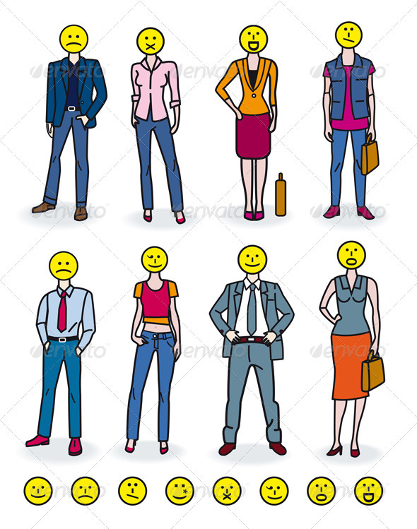 Business People and Emoticons - Concepts Business