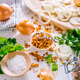 Making homemade fried onions with ingredients on white kitchen table - PhotoDune Item for Sale