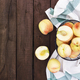 Large and big juicy peaches on brown wooden table background with boards - PhotoDune Item for Sale