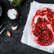 Raw veal beef steak on a paper with salt and thyme on dark stone concrete background - PhotoDune Item for Sale