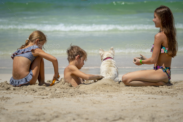 Happy Kids on the Beach - Stock Photo - Images