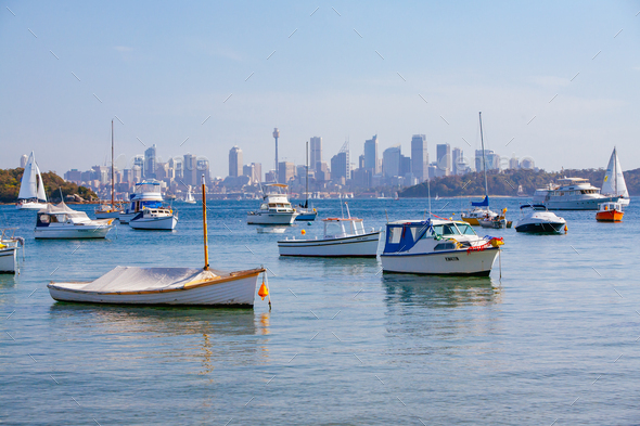 Yachts Moored in Sydney Harbour Australia - Stock Photo - Images