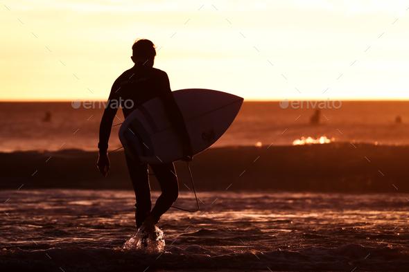 Bells Beach Surfer in Australia - Stock Photo - Images