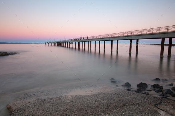 Lorne Pier at Sunset in Victoria Australia - Stock Photo - Images