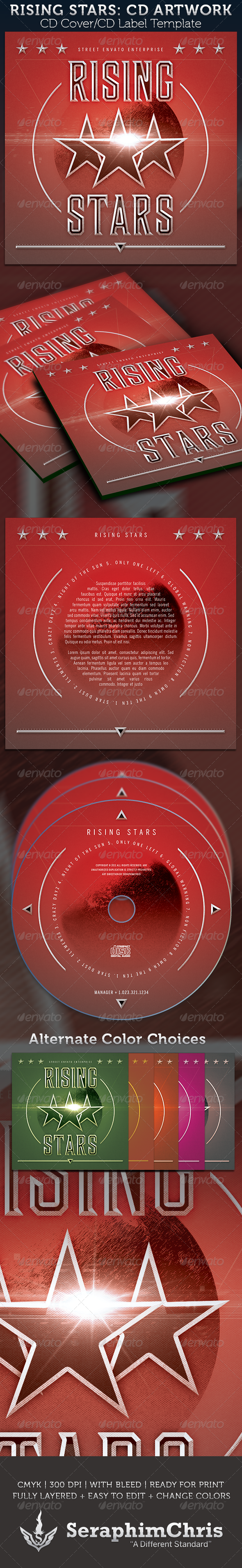 Rising Stars: CD Cover Artwork Template - CD & DVD Artwork Print Templates