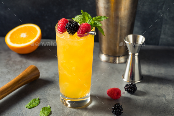 Boozy Refreshing Sherry Cobbler - Stock Photo - Images
