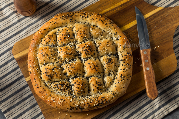 Healthy Homemade Sesame Turkish Bread - Stock Photo - Images