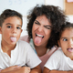 Nanny and children doing funny face expression on camera - Daycare and happiness concept - PhotoDune Item for Sale