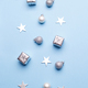 Christmas decoration on blue background - PhotoDune Item for Sale