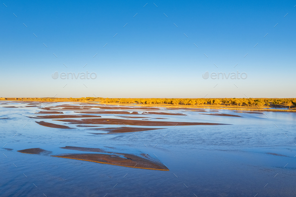 beautiful natural landscape on black river in autumn - Stock Photo - Images