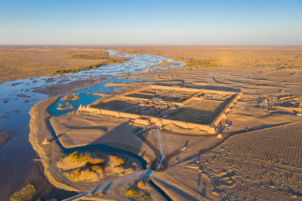 aerial view of the ruins of black water ancient city in sunset - Stock Photo - Images